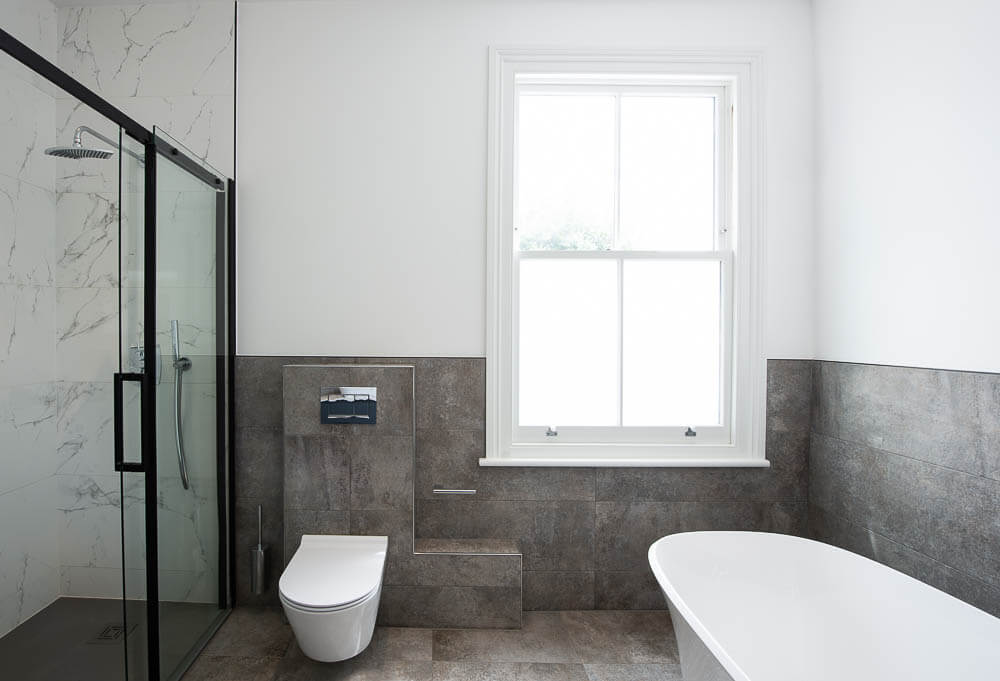 big bathroom interior with separate shower cabinet