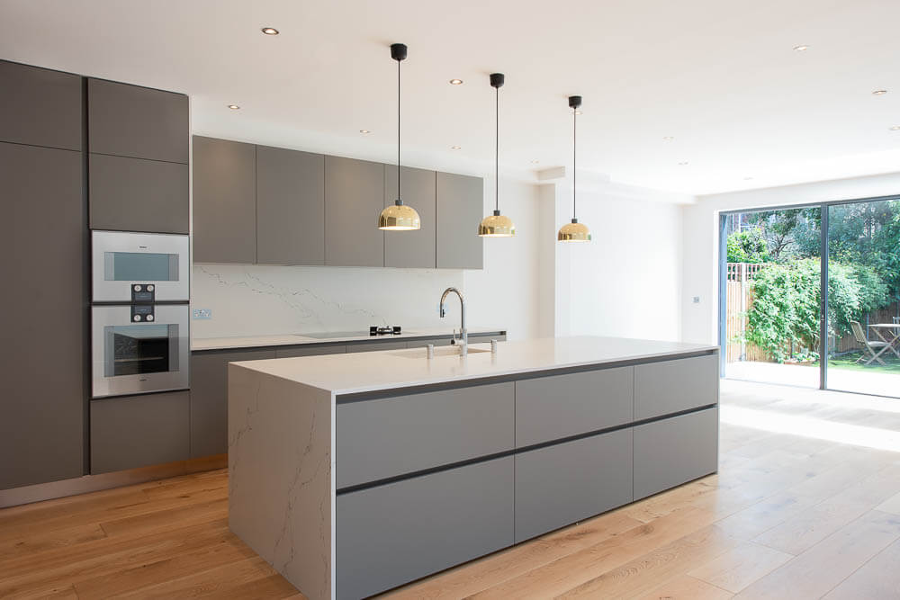 grey open plan kitchen