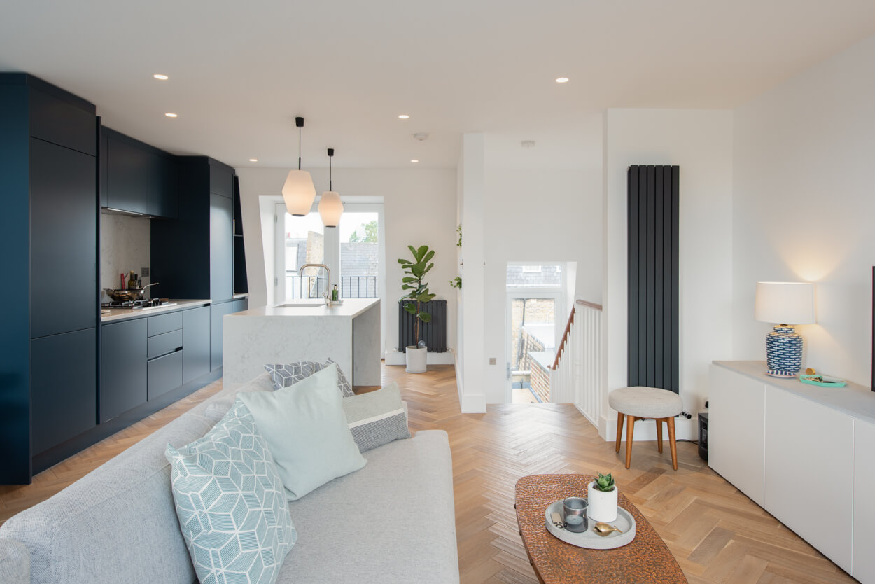 leaving room with the open plan kitchen